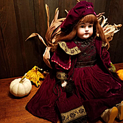 "Vintage Burgundy Velvet Doll Dress and Coat for a Large 28""-30"" Doll"