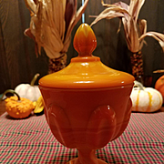 Vintage Orange Slag Glass Candy Dish