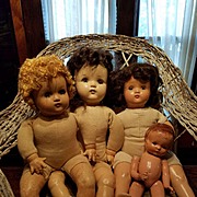 Group of Four Composition Dolls Need Work