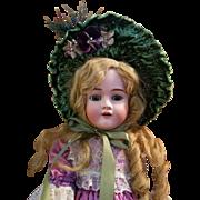 Vintage French Style Green Velvet Doll Bonnet