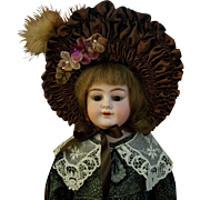 Vintage French Style Brown Taffeta Doll Bonnet
