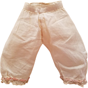 Antique Doll Pantaloons with Pink Ribbon Edge