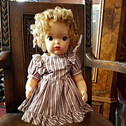 Vintage Brown and White Stripe Doll Dress