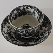 Antique: Romantic, English Staffordshire Fingerless Cup & Saucer (Tea Bowl & Saucer), Black & White Transferware