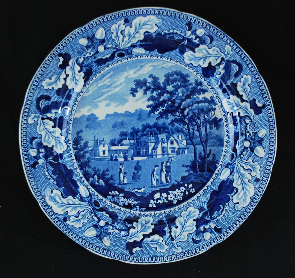 Antique Pottery Blue & White Transferware Plate, English