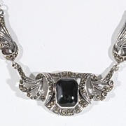 Lady's Sterling Silver Marcasite & Black Onyx Pendant, Vintage