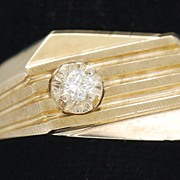 Man's Art Deco Style 10K Gold Ring, Vintage