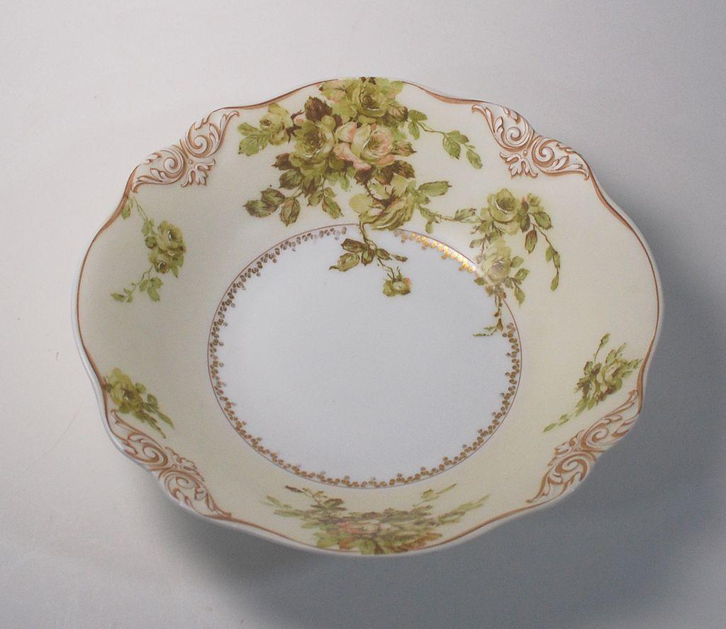 "Antique Porcelain Old Ivory Fruit Bowl. ""XXVIII"", # 28"