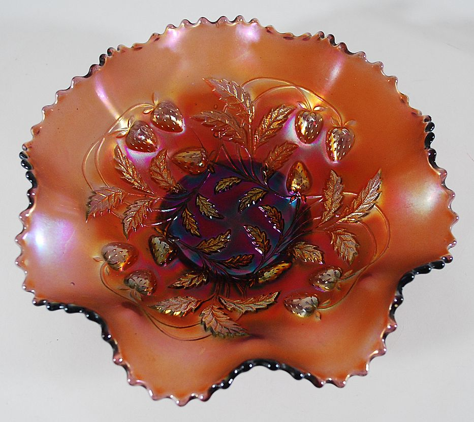 Amethyst Strawberry Pattern Carnival Glass Bowl