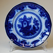 Antique Porcelain Flow Blue Plate