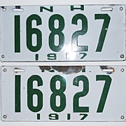 Pair of 1917 New Hampshire Enamel License Plates, Vintage