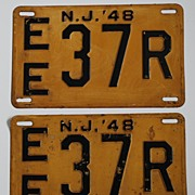 Pair of New Jersey License Plates, 1948, Metal, vintage