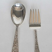 Antique: Sterling Silver Serving Fork & Spoon, Repousse, S. Kirk & Son