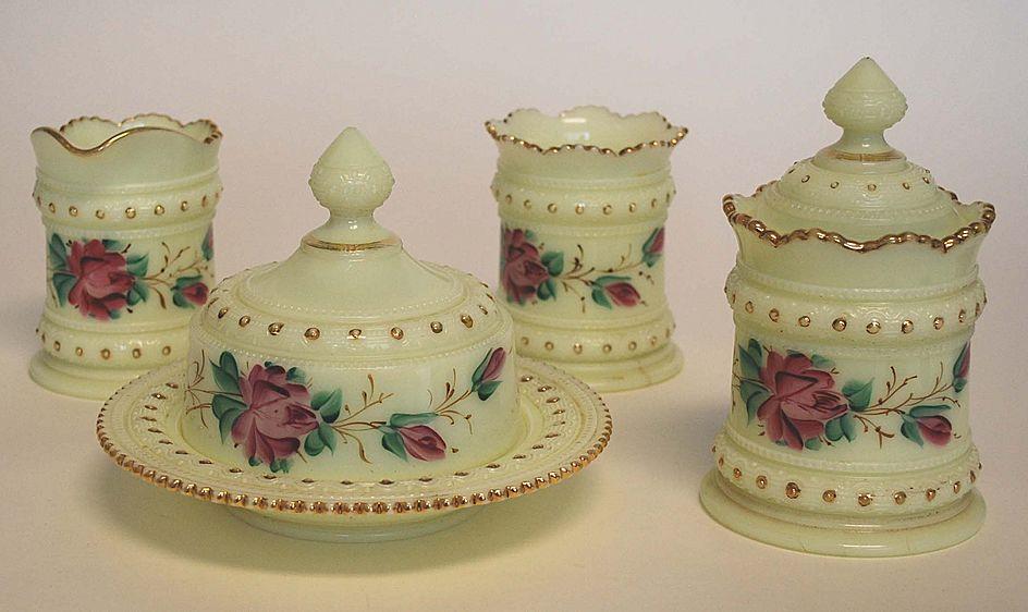 Heisey Custard Glass Breakfast Set, Signed, Antique