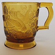 Amber Pattern Glass Child's Mug, Antique