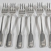 Oyster Forks, Sterling Silver, Set of 6, Frank W. Smith Silver