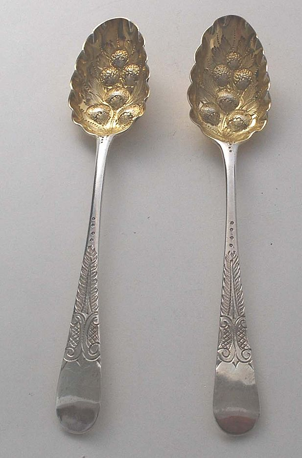 Antique English 18th Century Berry Spoons, Sterling Silver