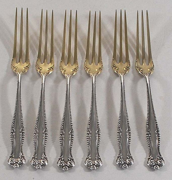 Antique Set of Six (6) Sterling Silver Strawberry Forks, Towle