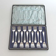 Antique Set of Twelve (12) Sterling Silver Forks, English