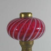Antique Milk Glass Cranberry Optic Swirl Lamp, Fenton