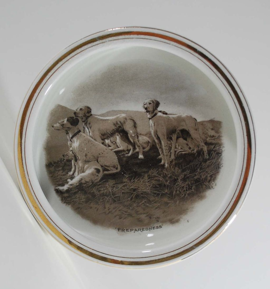 Antique Porcelain Bowl, Image of Dogs, E.A. Barber