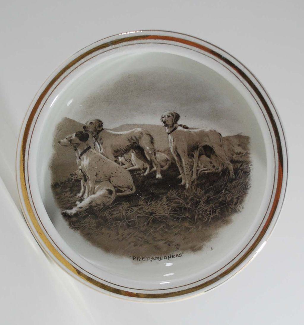 Antique Porcelain Bowl, Image of Dogs, E.A. Barber