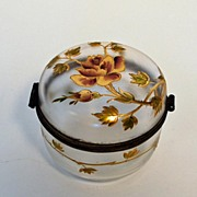 Antique Fancy Hand Painted Hinged Covered Box, Victorian