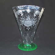 Antique Hawkes Vase, Signed, Green