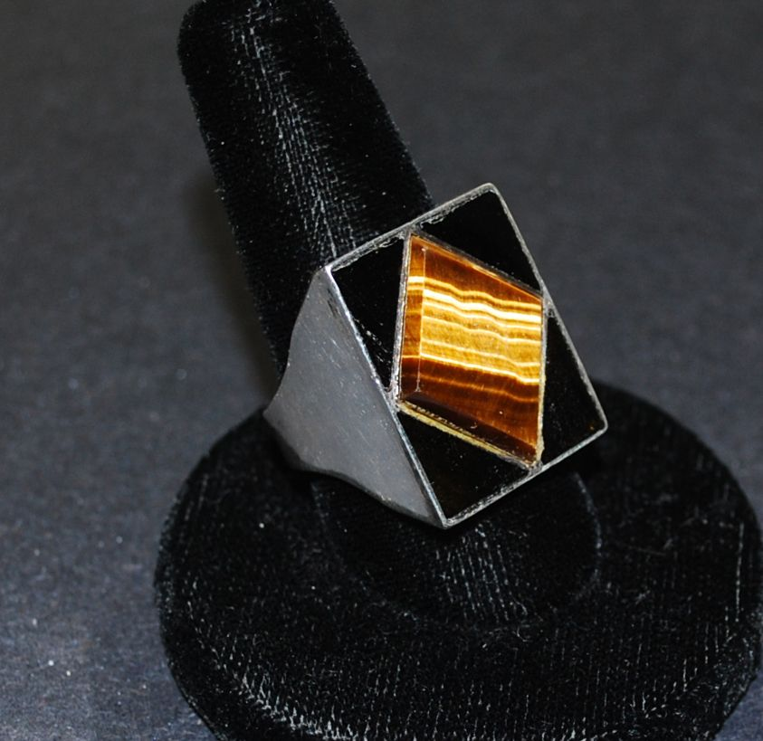 Man's Sterling Silver Ring with Tiger Eye & Black Onyx, Vintage