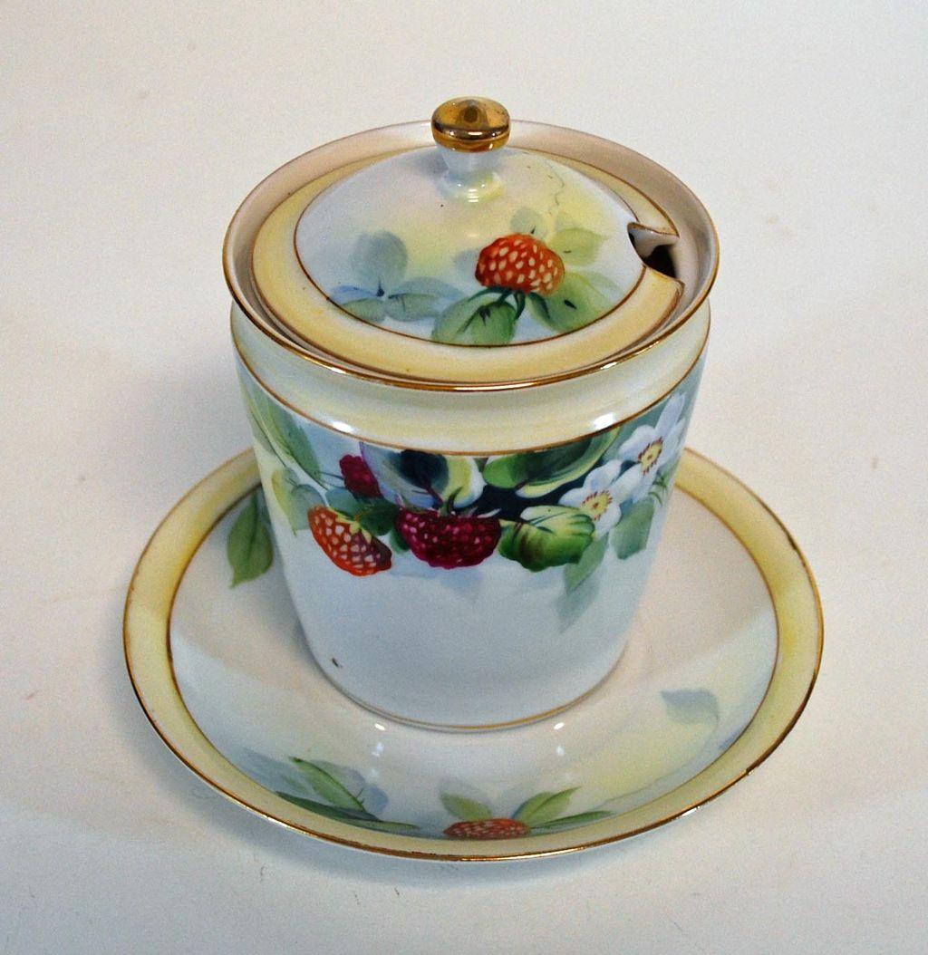 Antique Nippon Hand Painted Jam Pot/Plate, Porcelain