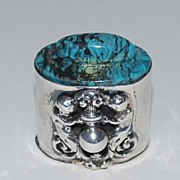 Antique Sterling Silver Trinket Box, Turquoise Lid