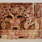 Antique Asian Soapstone Carved Desk Piece