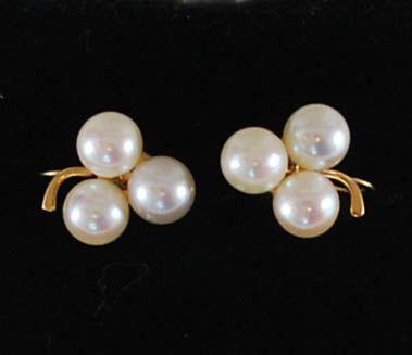 14K Gold Pearl Earrings, Vintage