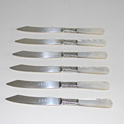Antique Set of Six (6) Mother-of-Pearl Fruit Knives