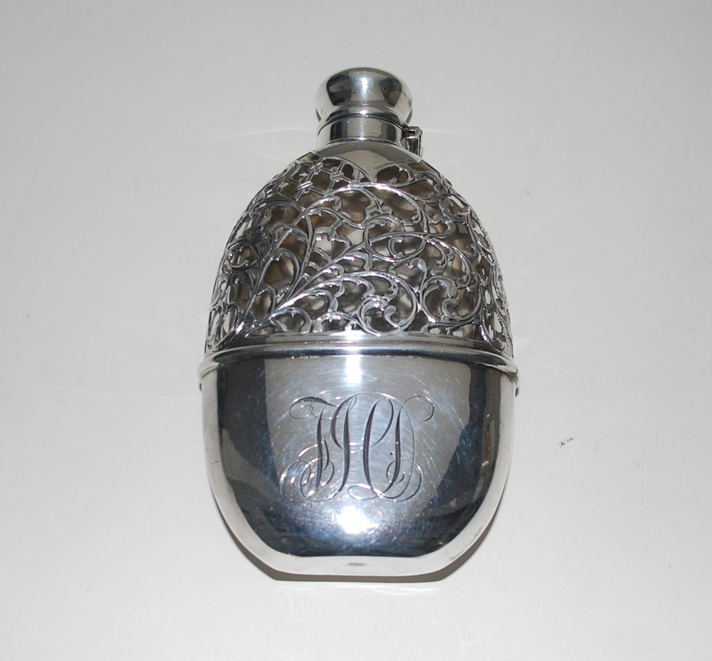 Antique Sterling Silver Overlay Flask