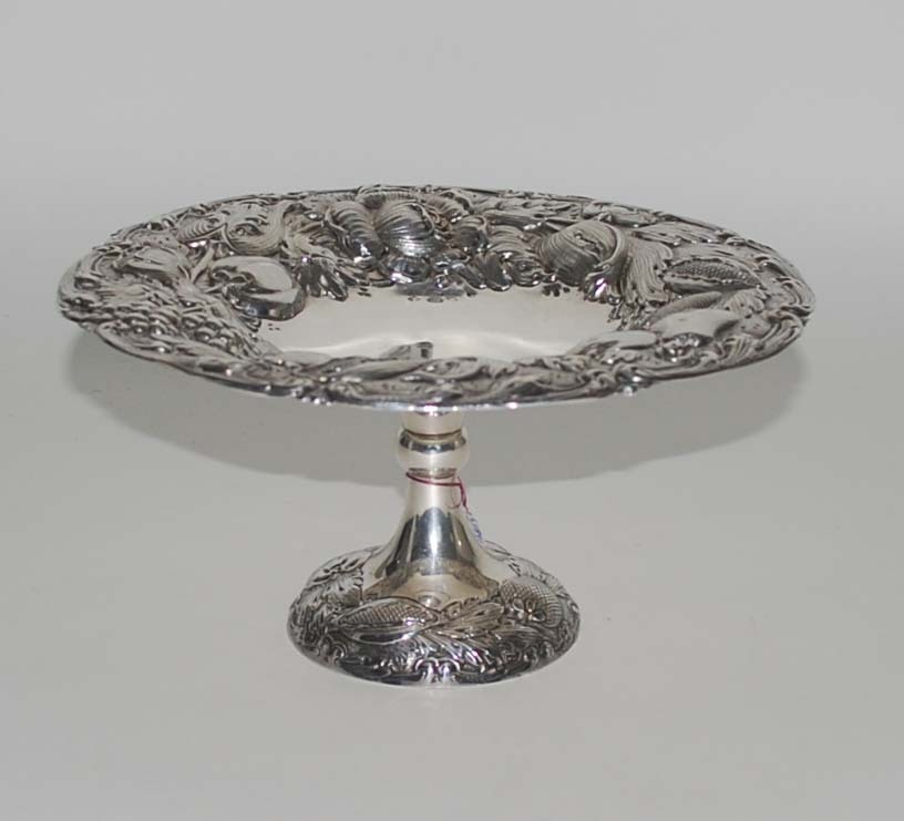 Antique Sterling Silver Compote, Repousse