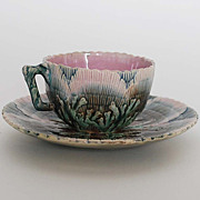 Antique Etruscan Shell & Seaweed Majolica Tea Cup & Saucer, Rare