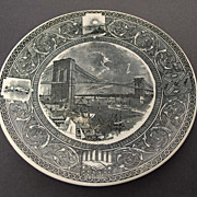 Antique Ironstone Transfer Plate – Brooklyn Bridge – Mayer Bros.