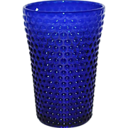 Vintage Royal Blue Hobnail Flip Vase by Fenton