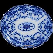 Antique Flow Blue Platter, New Wharf Pottery