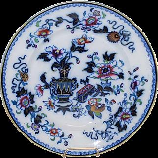 Flow Blue Polychrome Stoneware Plate, Ridgeway, Antique