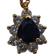 Vintage Tiffany Diamond and Sapphire Pendant with an 18 Karat Tiffany Gold Chain