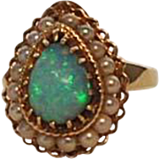 Vintage 14K Gold Ring with Fire Opal and Pearls