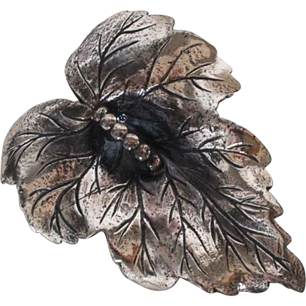 Vintage Sterling Silver Leaf Pin-Jewelry Art