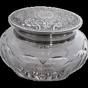 Antique Dresser Jar-Sterling Silver Top