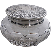 Antique Dresser Jar-Sterling Silver Top