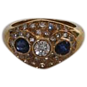 Vintage 18K Gold, Diamond and Sapphire Ring