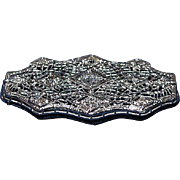 Antique 14K White Gold and Diamond Brooch