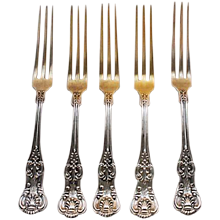 Antique Sterling Silver Strawberry Forks-Dominick & Haff