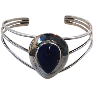 Vintage Sterling Silver and Lapis Cuff Bracelet
